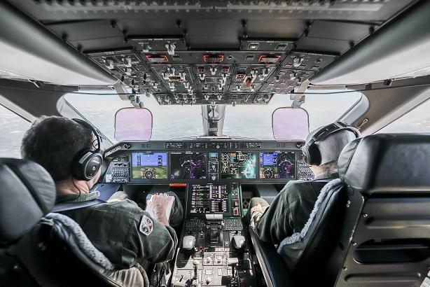 The cockpit of Embraer's KC-390