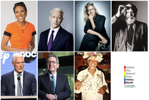 LGBT comms icons (from top left): Robin Roberts, Anderson Cooper, Annie Leibovitz, Leo Lerman, Kevin Brockman, Lord John Browne, Marsha P Johnson