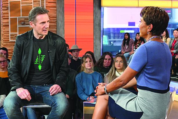 Liam Neeson on Good Morning America (©LORENZO BEVILAQUA/ABC/GETTY IMAGES)