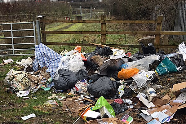 One of the images being used in Luton Council's campaign against fly-tipping