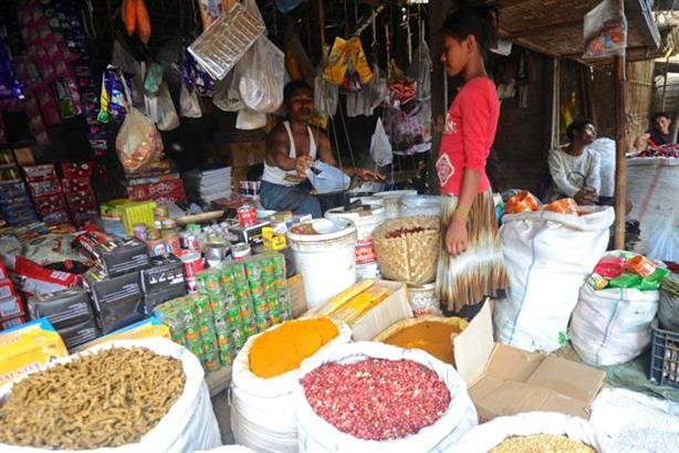 The controversial banners appeared in shops like these in Rakhine province