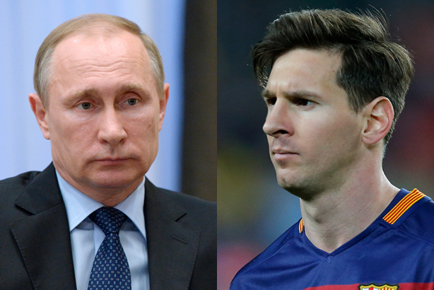 Putin (l) and Messi are both implicated in tax leak (Credits: Alexei Nikolsky/AP/Press Association Images for Putin; Manu Fernandez/AP/Press Association Images for Messi)