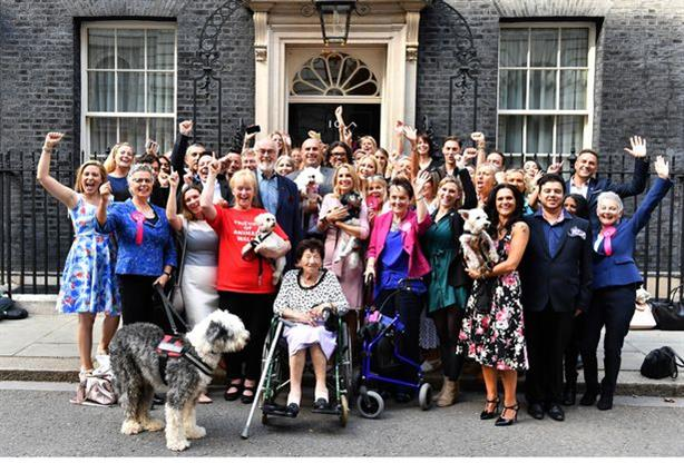 Lucy's Law supporters celebrating victory outside Downing Street last week (Pic credit: The Mirror)