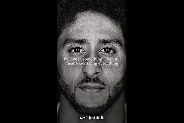 Nike added $6bn in share value via its Just Do It campaign. (Image: @Kaepernick7 on Twitter.)