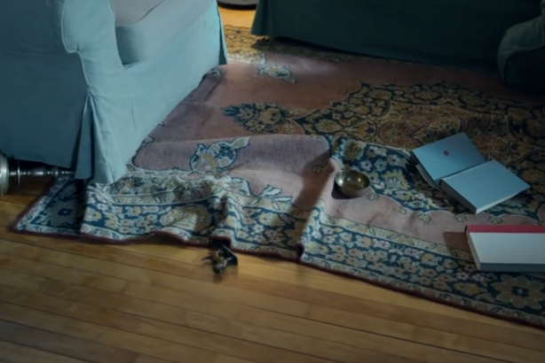 The chilling PSA from No More and the NFL shows images of a house in disarray.