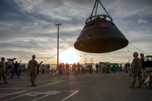 Orion being moved from the crew recovery cradle