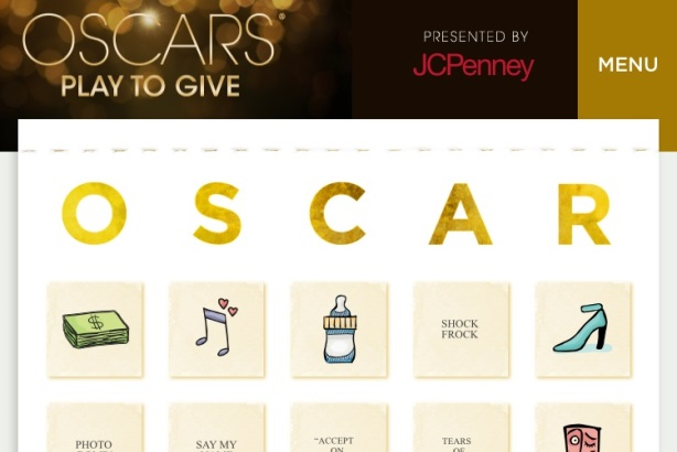 JC Penney is hosting a charity-focused online game during the Oscars.