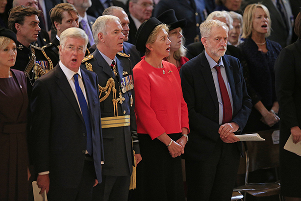 Lost for words: Corbyn has come under fire for not singing the national anthem (Credit: Jonathan Brady/PA Wire/PA Images)