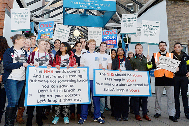 Junior doctors: On the picket line outside Great Ormond Street Hospital in London during January's strike (credit: John Stillwell/PA Wire/Press Association Images)