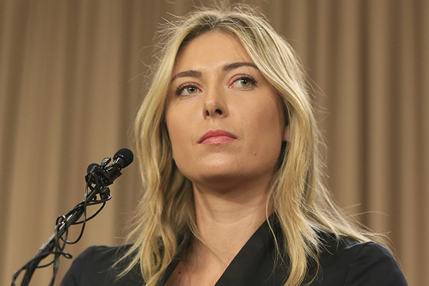 Top spin? Sharapova at yesterday's annoucement (Credit: Damian Dovarganes / AP/Press Association Images)