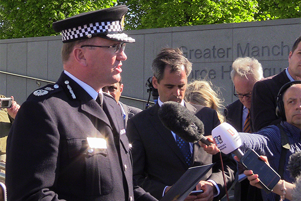 Chief Constable Ian Hopkins delivers a statement outside Greater Manchester Police headquarters as the suicide bomber is named (pic credit: Andy Hampson/PA Wire/PA Images)