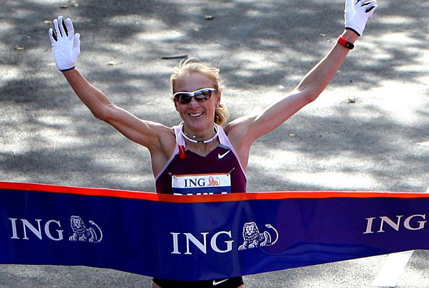 Radcliffe crosses the line to win the 2008 New York Marathon (Credit: Nick Potts/PA Wire/Press Association Images)