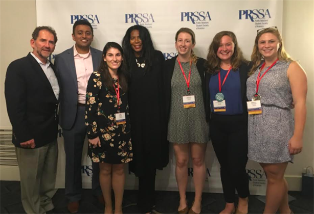 (l-r) BU professors Steve Quigley and Justin Joseph; BU student and PRSSA 2017 National Conference chair Carly Gibson; speaker Judy Smith; BU students and conference committee Amanda Howard, Rachel McLean, and Rebecca Stone