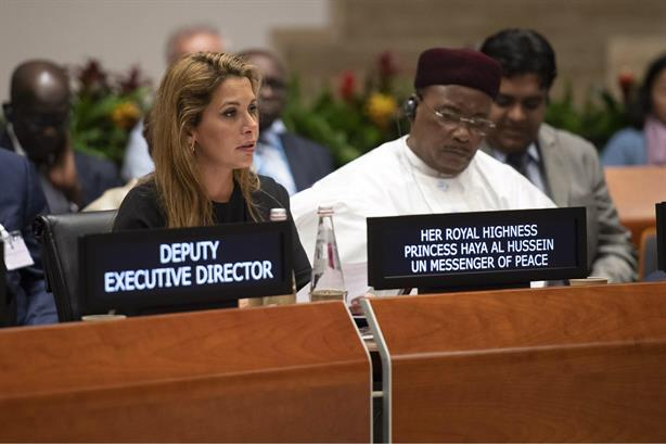 Princess Haya addressing the World Food Programme executive board meeting in June
