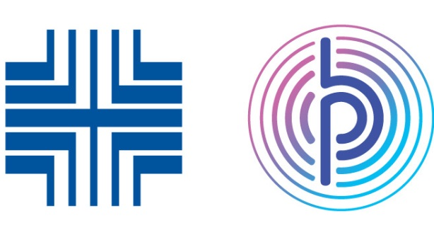 Pitney Bowes' former logo (left) compared to the new one (right)