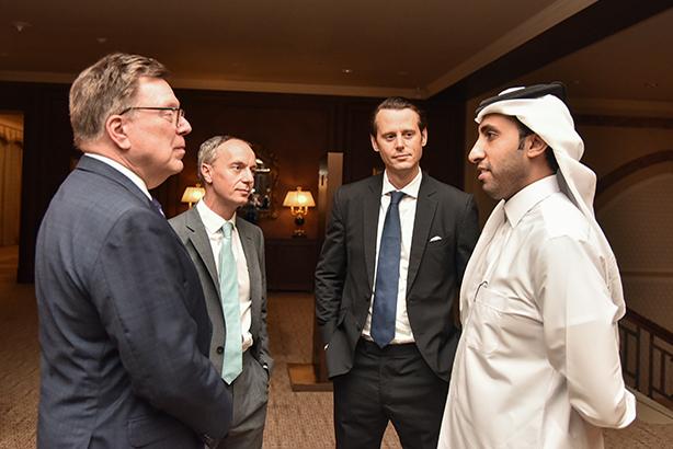 (l-r) Charles McLean, Portland; Steve Morris, Portland; Patrick Forbes, Forbes Associates (now Portland); Faisal Al-Sahouti, CEO of the QICDRC