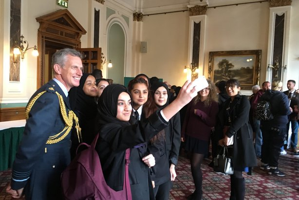 Air Chief Marshal Sir Stephen Hillier with a group of young people at an RAF event in Birmingham