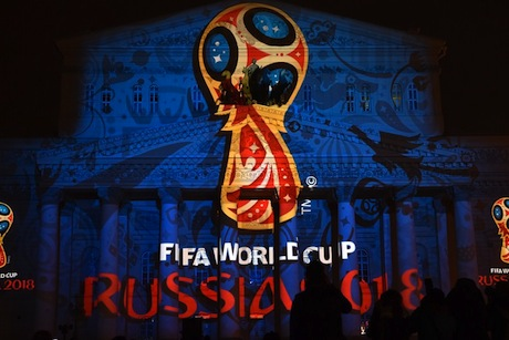 World Cup: Russia projected this image on to the Bolshoi Ballet building