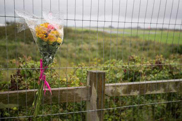 Tragedy: Tributes were left at the Shoreham Airshow crash site over the weekend