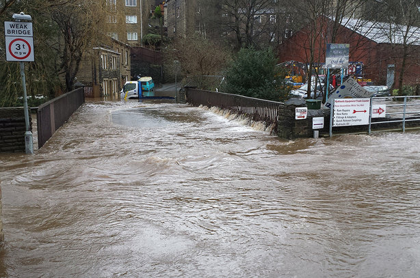 Sowerby Bridge, in Calderdale, groans under the weight of water caused by Storm Eva in 2015 (pic credit: Calderdale Council)