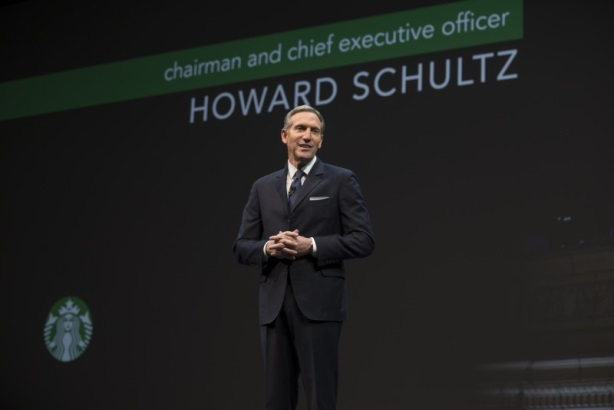Starbucks CEO Howard Schultz speaking at the annual shareholders meeting