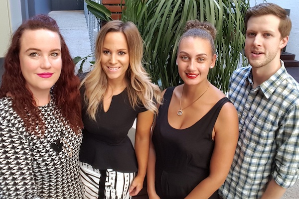 (l-r) Kirsty Visman, Nicole Hope, Amy Nibbs and Mike Crate