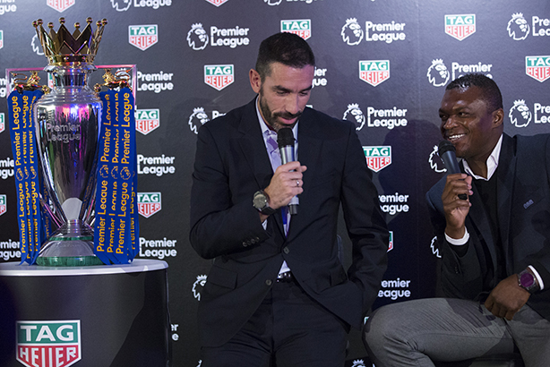 Robert Pires (left) and Marcel Desailly at the live launch of the Pressure Test