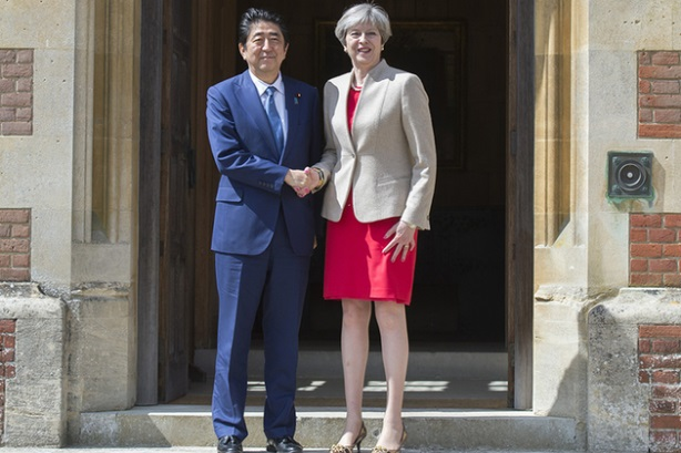 U.K. Prime Minister Theresa May takes a break from election campaigning to meet Japan's PM Abe.