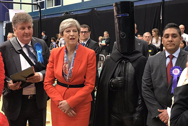General election: May contested her Maidenhead seat against Lord Buckethead (and others) in 2017 (image via Twitter)