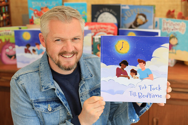 Children's author Giles Paley-Phillips with Tick Tock Till Bedtime