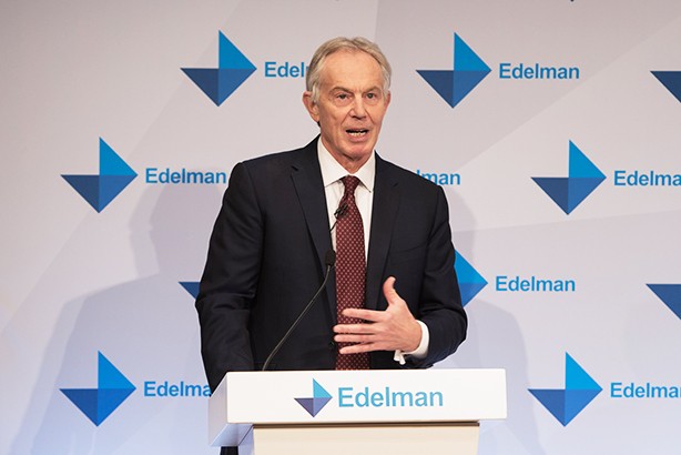 Tony Blair delivers a thought-provoking speech at the launch of Edelman's Trust Barometer. Photo: Elyse Marks