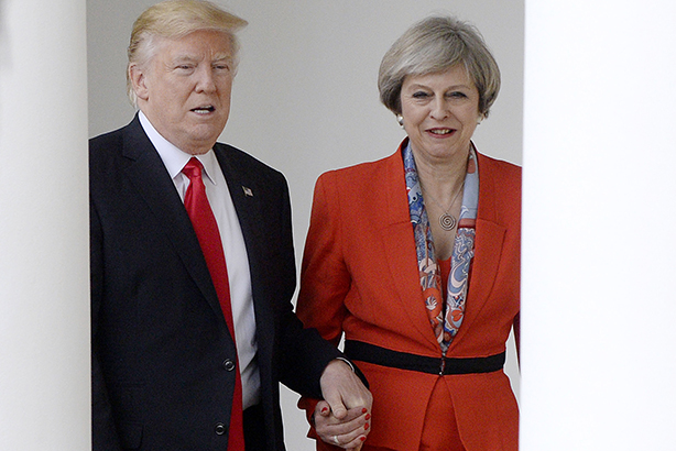 Donald Trump and Theresa May hold hands during the Prime Minister's visit to the White House last Friday (©Olivier Douliery/Pool Sipa USA/SIPA USA/PA Images)