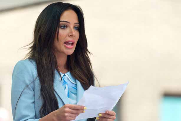 Tulisa Contostavlos: Speaking to the press after the collapse of the drugs trial (Photo by Ben Pruchnie/Getty Images)