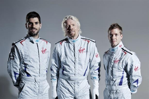 The Virgin Racing Formula E team and company founder Richard Branson: preparing to compete