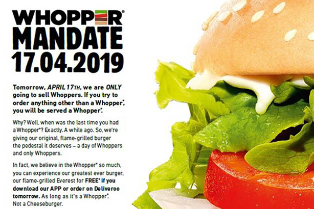 Burger King will serve only Whoppers tomorrow in bid to reignite