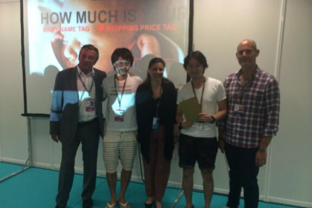 Winners: Japan's Yuichiro Okada and Tetsuya Umeda with judges Pascal Beucler, Marnie Kontovraki and Michael Frohlich