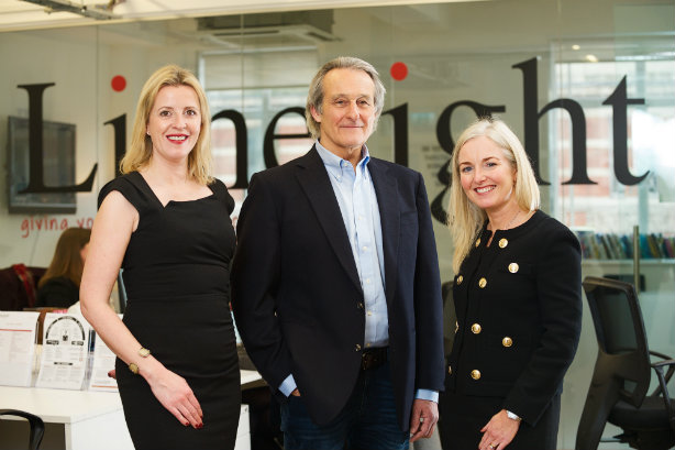 Limelight founder Susanna Simpson (L) has sold to Acceleris - also pictured are Acceleris chair Nigel Howes and MD Louise Vaughan