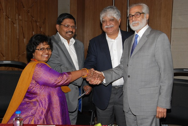 L-R: Matilda Yorke, Peter Yorke (co-founders, Yorke Communications), Madan Bahal and Rajesh Chaturvedi (co-founders Adfactors PR)