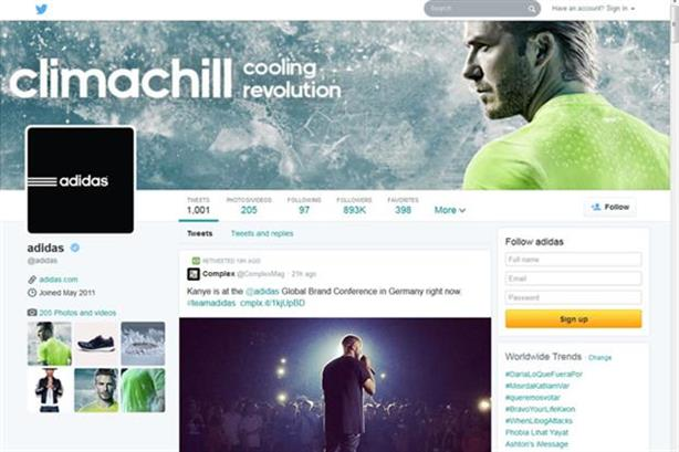 Adidas' new look Twitter profile