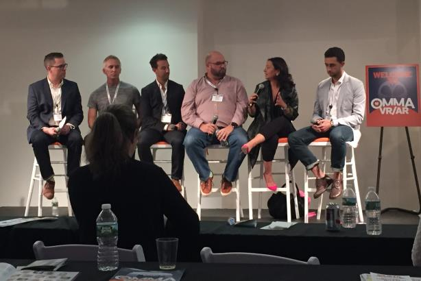 L-R: Eric Grant, Jerry Hudson, Michael Kuntz, Gene Lewis, Daniela Lobo, Timothy Whitney on a panel on virtual reality at Advertising Week.
