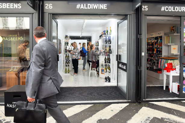 A 2016 pop-up activation by Clarion for Aldi's wine portfolio in Boxpark Shoreditch
