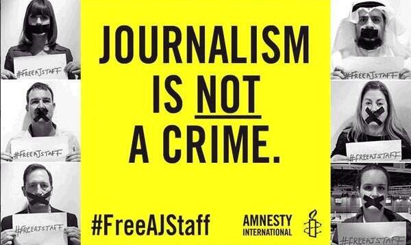 Amnesty International contributed this image to the #FreeAJStaff Twitter trend