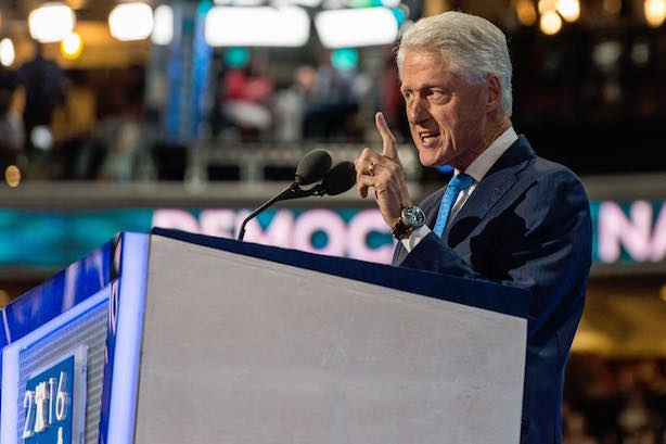Former President Bill Clinton speaks at the Democratic National Convention on Tuesday. (Image via the convention's Facebook page).