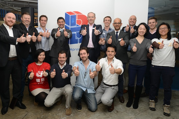 Swire Properties' management and representative of the 11 winning startups
