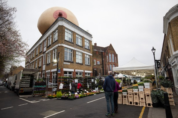 A giant boob overlooks Columbia Road, London