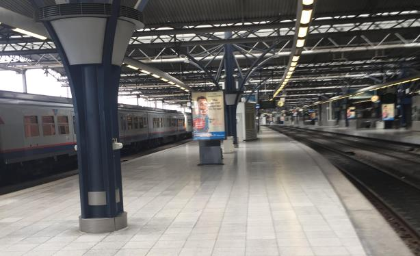 An empty train platform in Brussels hours after Tuesday's terrorist attacks. (Photo credit: Dan Hill).