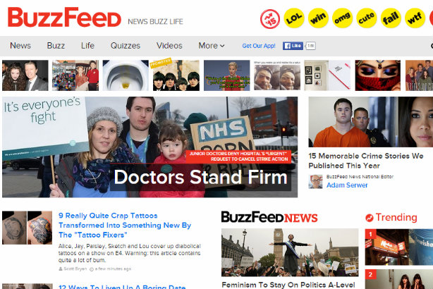 Buzzfeed's UK homepage: The website now seemingly cannot rely on its US practices over editorial in the UK