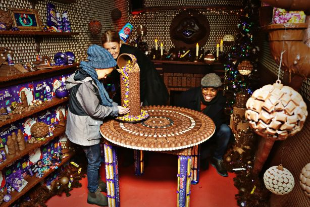 Edible baubles: The chocolate grotto unveiled in Liverpool