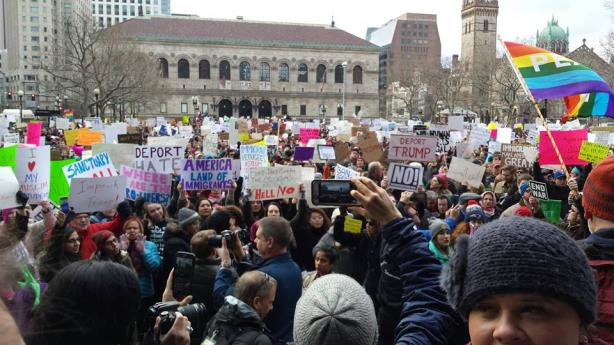 An immigration protest in Boston. (Image via CAIR's Facebook page).