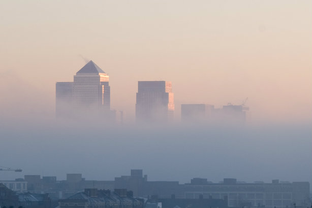 Canary Wharf shrouded in mist: Law firms' revenue does not equate to visibility, Golin finds (Credit: Lars Plougmann via flickr)